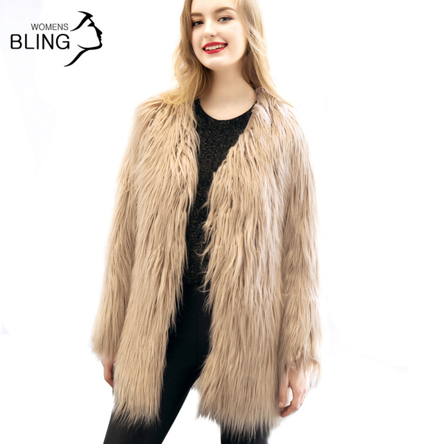 Faux Fur Winter Coat Women Fluffy Warm V-Neck Sleeve Solid Color 2016 Fashion Autumn Winter Hairy Overcoat Jacket