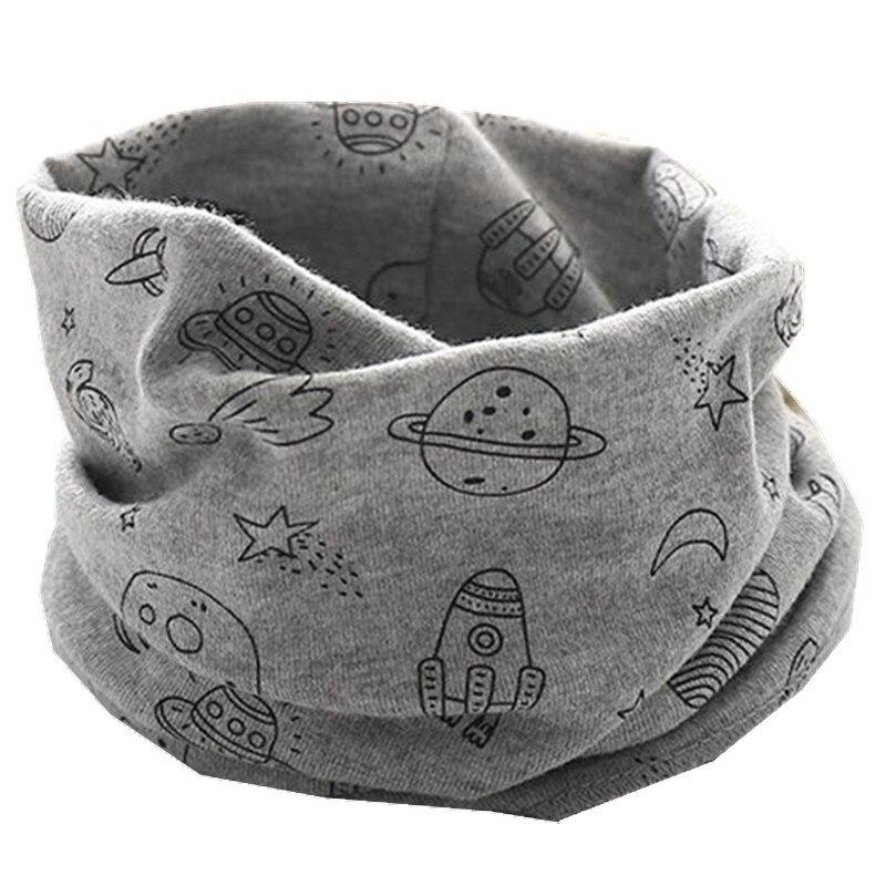 Осенне-зимний детский хлопковый плюшевый шарф, детский шарф для девочек, шарфы для мальчиков и девочек, детский воротник, детский волшебный шейный платок с круглым вырезом - Цвет: gray moon star