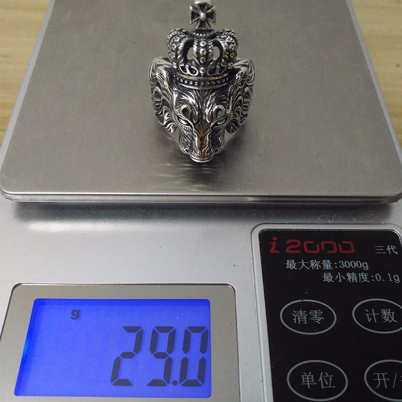 ZABRA แท้เงินแท้ Silver 925 Sterling Silver Crown Lion King แหวนผู้ชาย Punk Retro Vintage Cool Biker สิงโตหัวแหวน-ใน ห่วง จาก อัญมณีและเครื่องประดับ บน   3