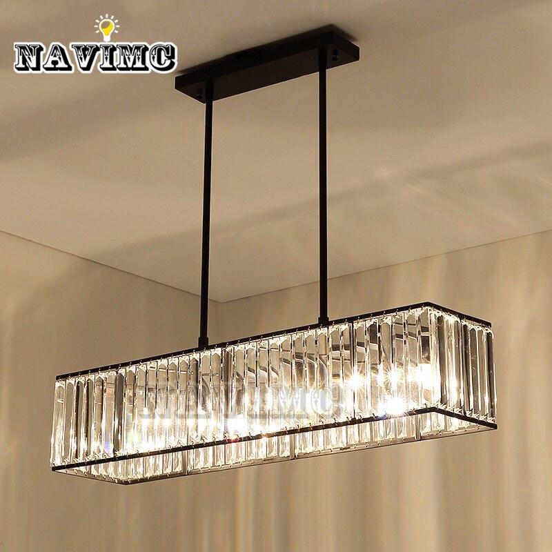 3 light American Vintage Retro Crystal Chandelier Lighting for Dining Room Restaurant Hanging Iron Rod Pendant Lamp