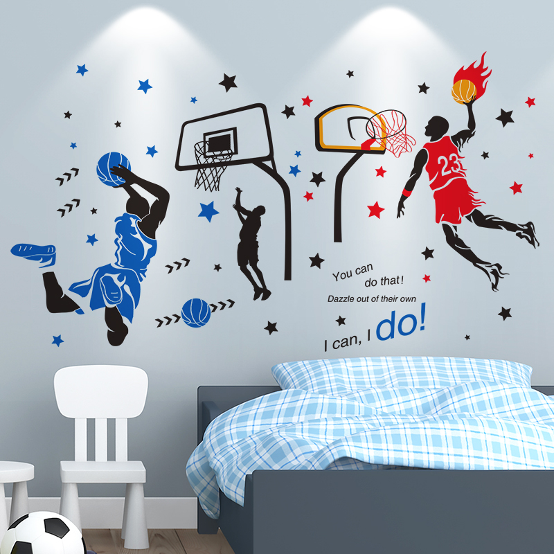 [SHIJUEHEZI] Basketball Player Wall Stickers Creative Sports Style Wall Decals for Kids Room Basketball Court Decoration