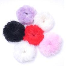 Резинки для волос из искусственного кроличьего меха с помпонами, резинки для волос, резинки для волос, ободки для волос, аксессуары для волос