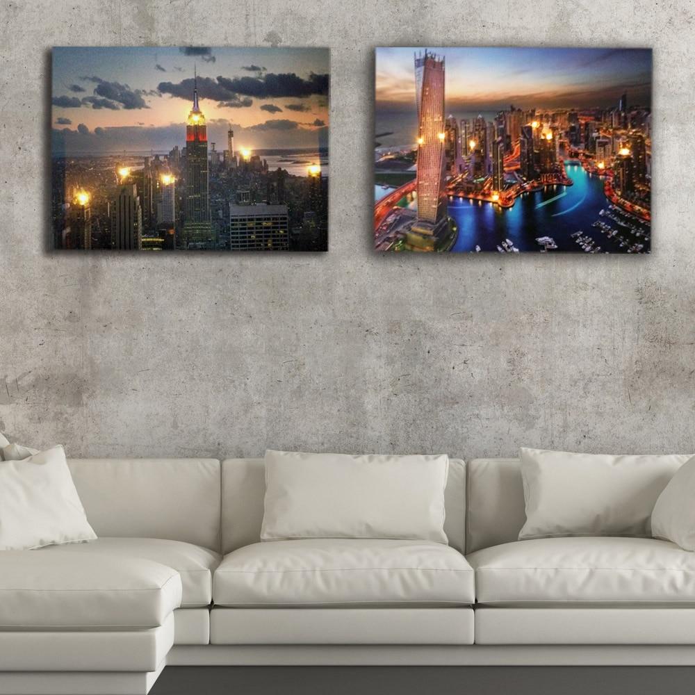 Aliexpress Com Buy 3 Pieces Wall Art New York City: Aliexpress.com : Buy Modern Lighted Wall Picture New York