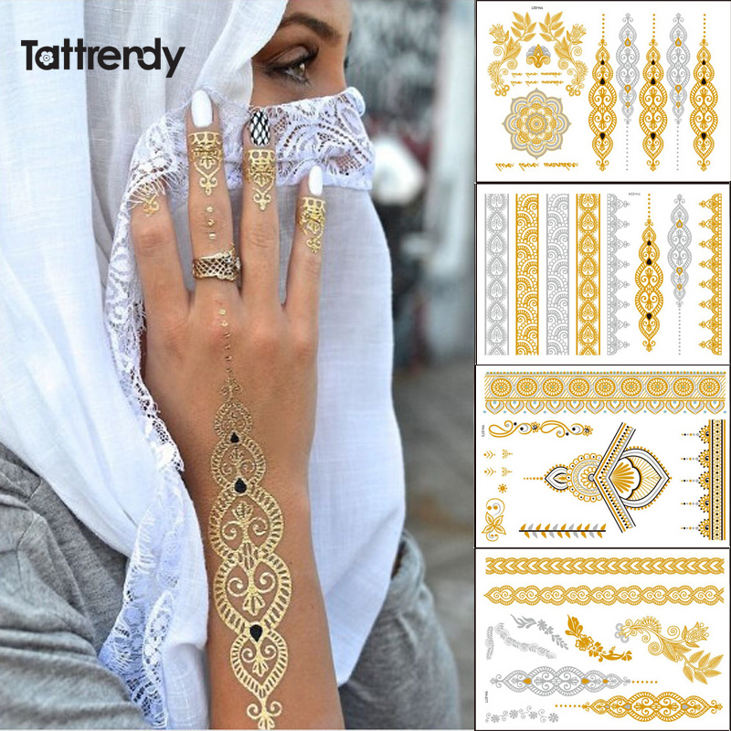 4pcs New Indian Arabic Design Golden Silver Flash Tribal Henna Tattoo Paste Metalicos Color Metal Tattoo Set Body Hand Bride Hot