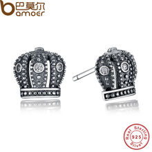 GIFT 925 Sterling Silver Royal Crown Stud Earrings  Clear CZ With Clear CZ Compatible with Jewelry Special Store PAS410