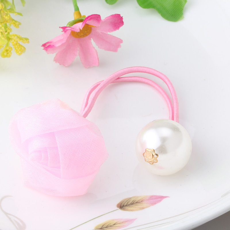M MISM 2017 Girls Rose Double Head Imitation Pearls Elastic Bands Beauty Gum For Hair Cute Scrunchy Hair Accessories Chiffon New m mism new girls flower pearl hair holder gum for hair ponytail elastic hair band hair accessories scrunchy women head wear