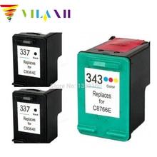 2Pk  Black & 1PK Color Ink Cartridge For HP 337 343