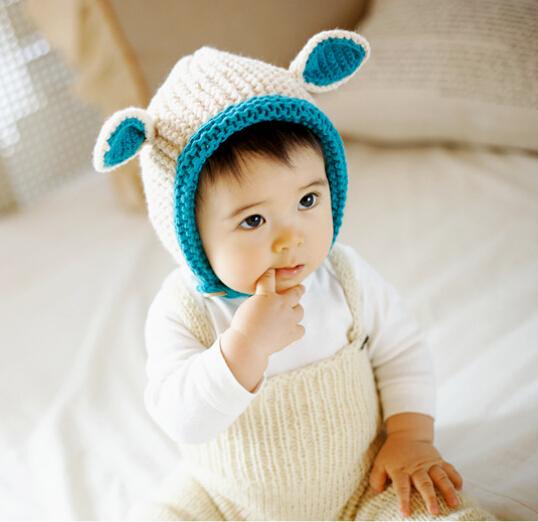 015ef516c23 2015 Autumn Korean Thick Knitted Hats Winter Hats Baby Beanies Skullies  Child Woolen Caps handmade Two Ear Cute Baby Hats