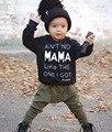 Nueva Moda de la Ropa Del Bebé de Manga larga niños Baby Boy ropa MAMA'S Boy Camiseta Y Pantalón 2 unid niños Bebé Mono monos
