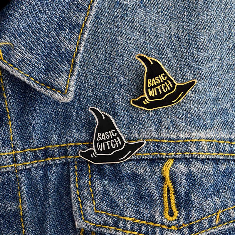 Хэллоуин вечерние подарки жесткие эмалевые штифты мастер pin ведьма шпильки шляпа Заклепки для джинсов свитер ювелирные изделия ACC