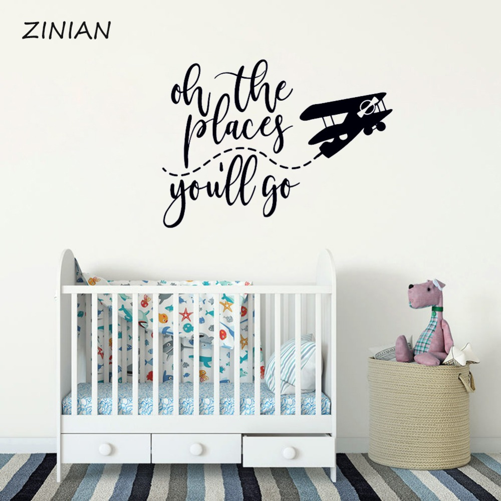 US $6.97 25% OFF|Oh the places you\'ll go Wall Art Decal Quote Mural  Airplane Wall Sticker Kids Bedroom Home Decor Decals For Baby Nursery  Z143-in Wall ...