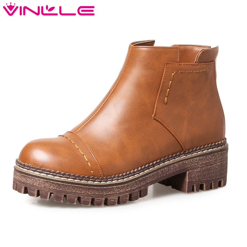 VINLLE 2018 Women Boots Shoes Ankle Boots Square Low Heel Round Toe Slip On Yellow Gray Ladies Motorcycle Shoes Size 34-43 vinlle 2017 women pumps college style square med heel vintage slip on pu leather shoes casual round toe girl shoes size 34 40