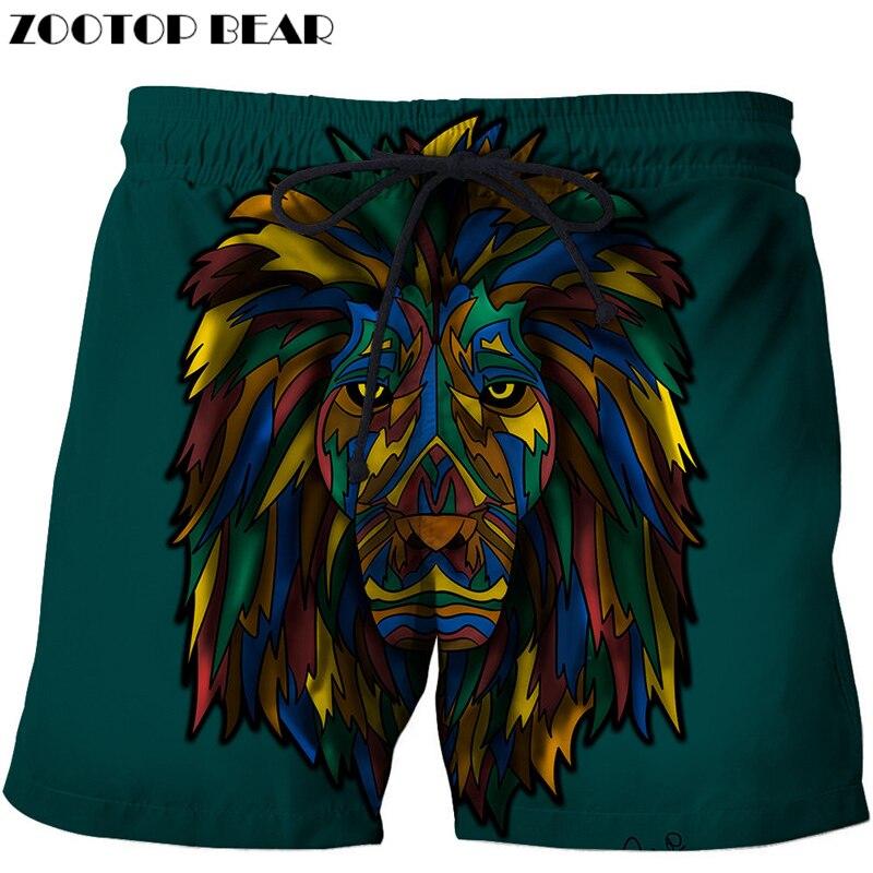 Cartoon Lion Beach Shorts Men Pants Board Shorts Plage 3d Trouser Funny Swimwear Quick Dry Shorts Harajuku DropShip ZOOTOP BEAR