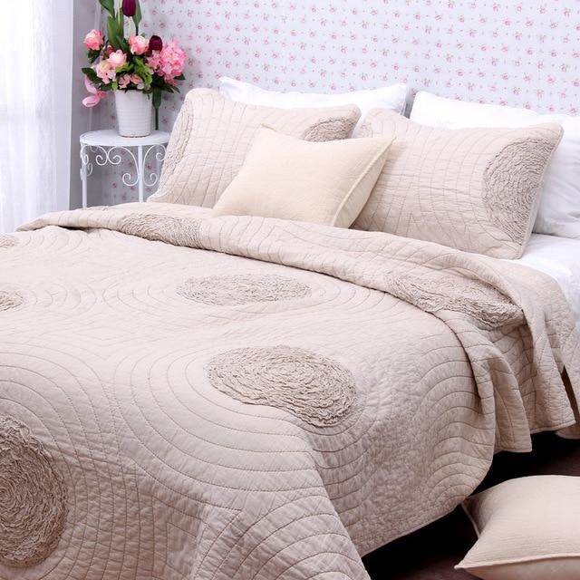 couvre lit taie d oreiller Simple et élégante broderie 3 pcs 1 * couvre lit 2 * taies d  couvre lit taie d oreiller