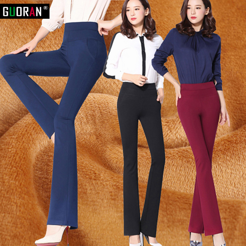 Vintage Office Women Pants Trousers elastic High Waist skinny stretch Flare Wide Leg OL Office Career Capris Work Wear Black