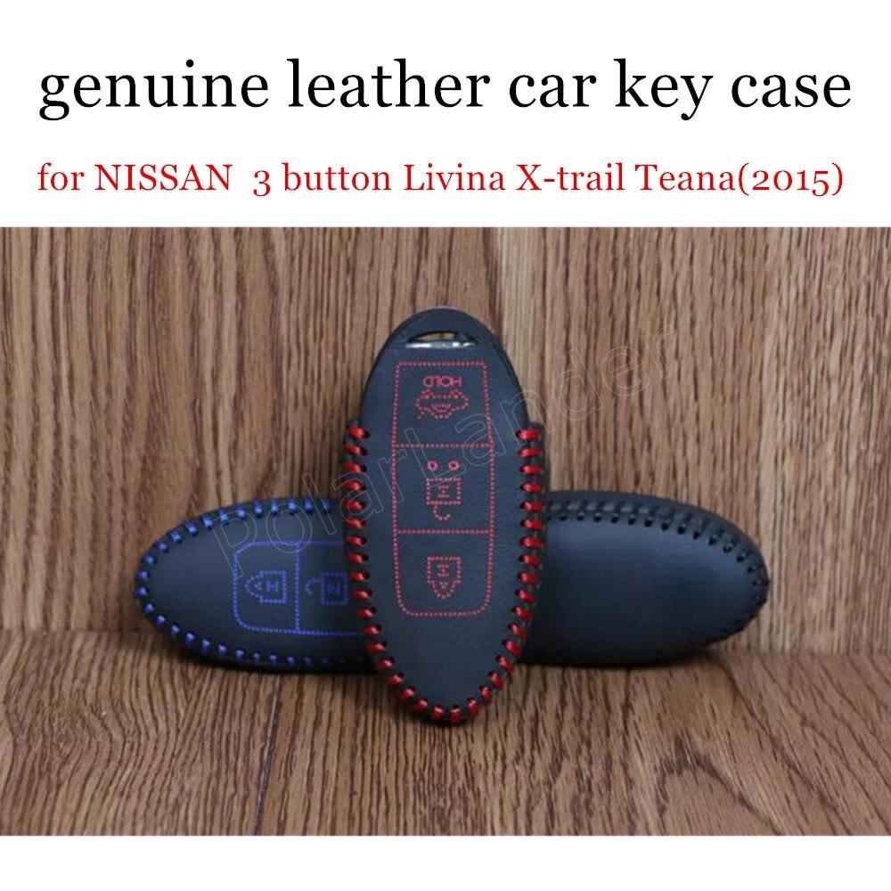 ae3c17d39 Caso chave do carro de costura à mão pacote chave do carro de couro real  tampa fit para NISSAN 3 botão chave Teana Livina X-trail (2015) nova vinda