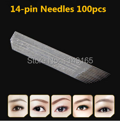 Hot 50pcs 18 u needles Shape Permanent Makeup Eyebrow Embroidery Blades For 3D Microblading Manual Tattoo Needles 5