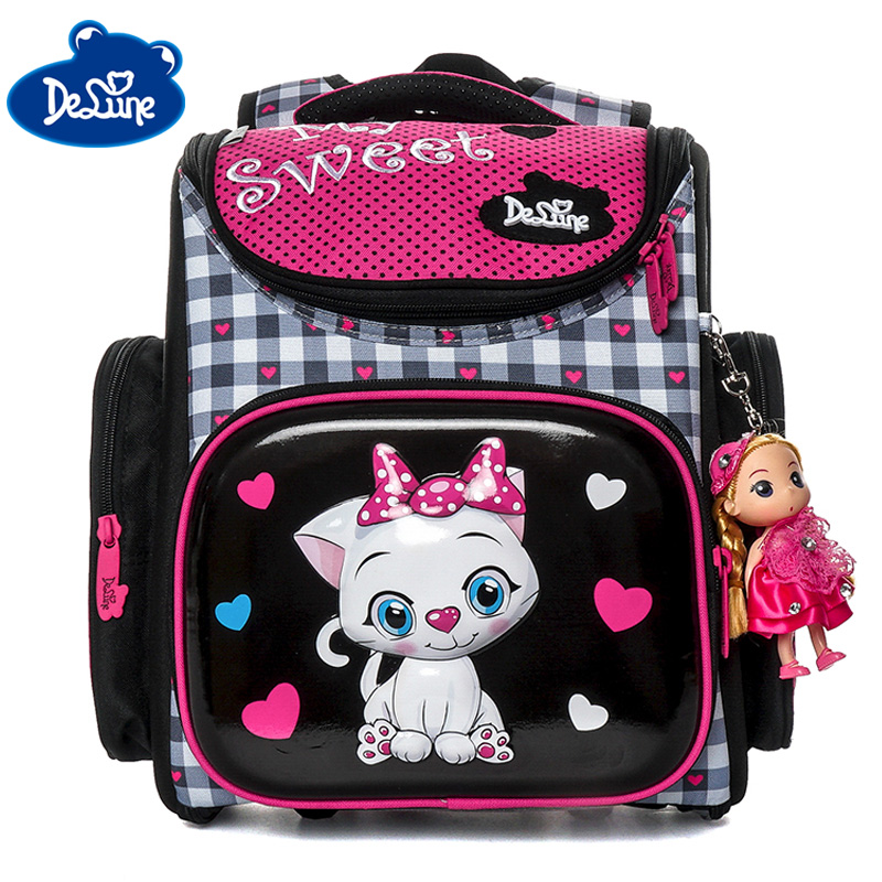 Delune 2019 3D Cartoon School Bag For Gilrs Boys Cat Pattern Orthopedic Backpack Children School Bags