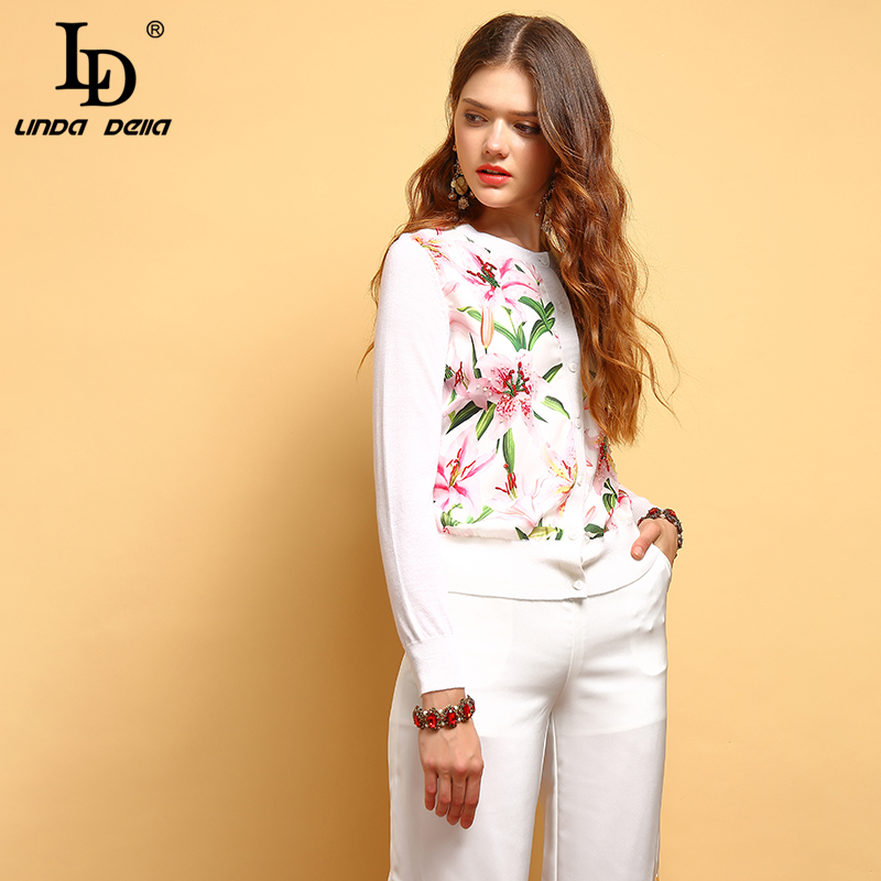 LD LINDA DELLA New 2019 Fashion Summer Tops Women 39 s Long Sleeve Beading Floral Printed Elegant Casual Ladies Vacation T shirt in T Shirts from Women 39 s Clothing
