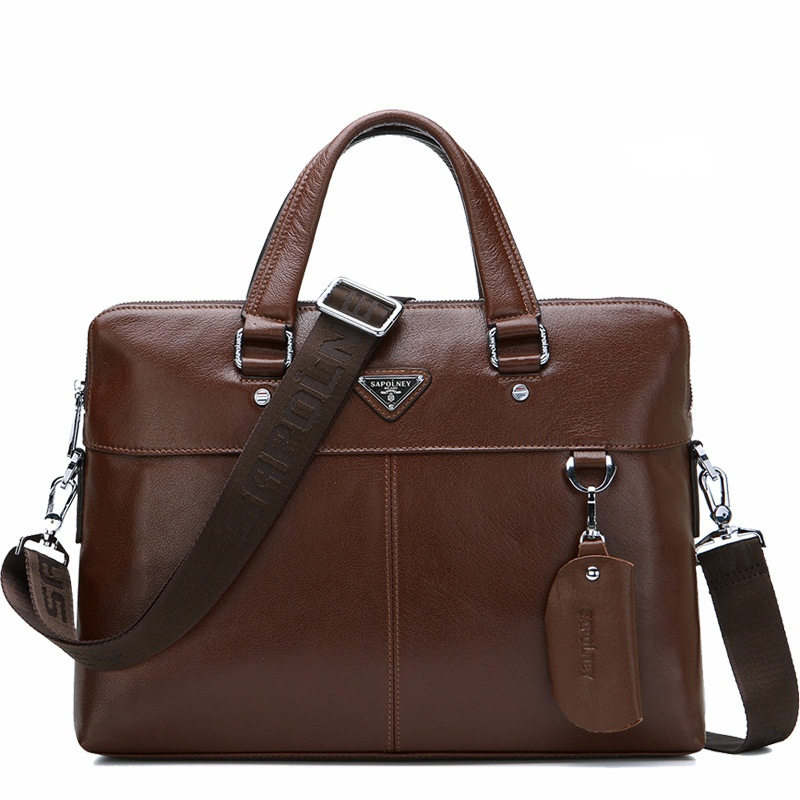 High quality the new cow leather briefcase Men of high-grade satchels business package genuine leather business package DDWB084 the new high quality imported green cowboy training cow matador thrilling backdrop of competitive entrance papeles