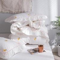 Ins/хлопковый маленький свежий комплект из 100% хлопка, 4 шт., вышивка в виде звезд, сердечек, ананасов, букв, корейское постельное белье для прин