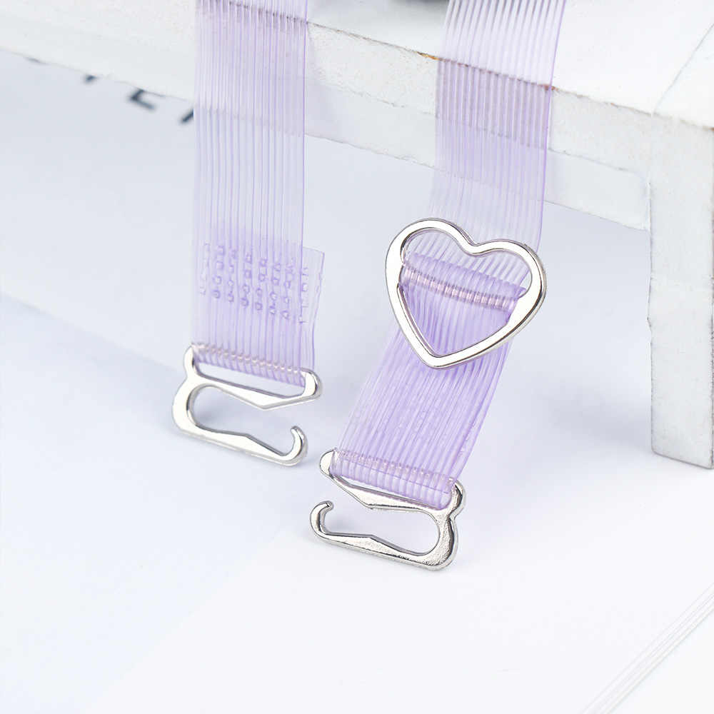 1 par Moda Alta Elastic Stripe Cristal Botão Alça de Sutiã Cueca Ajustável Invisible Transparente Alças de Sutiã Ombro