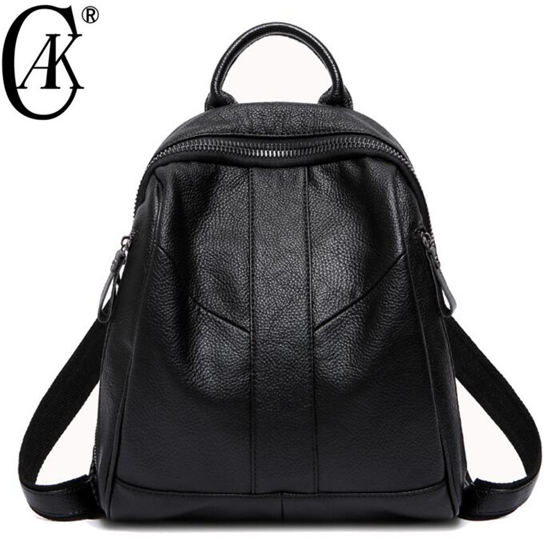 CAK Brand High Quality Women Genuine Leather Backpacks Girls Natural Cow Leather travel Backpack Shoulder Bag College Fashion nucelle brand new design women s fashion casual drawstring genuine cow leather girls ladies backpacks shoulders travel bag