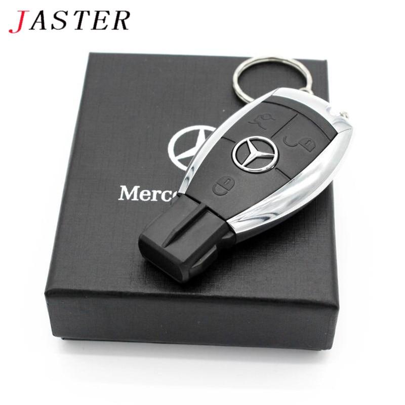 JASTER חם אופנה creative פלסטיק U דיסק מרצדס רכב מפתח USB + תיבת USB 2.0 4 gb/8 gb /16 gb/32 gb/64 gb זיכרון מקל