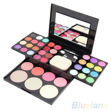 Blusher Lip Gloss Shimmer Eyeshadow Palette Makeup Kit Brush Mirror Cosmetic Set 8TYY