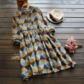 Primavera casual imprimir geométrica das mulheres literária estande do vintage gola de manga comprida uma linha bonito kawaii feminino dress mori menina u451