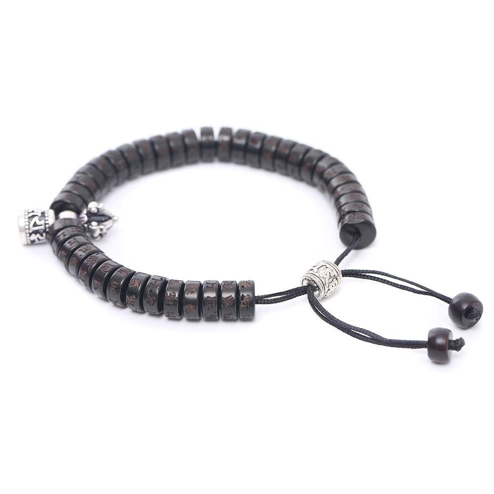 Handmade Tibetan Buddhism Vajra Charm Natural Coconut Shell Beads OM Mani Padme Hum Bracelet For Men Women Jewelry 1389