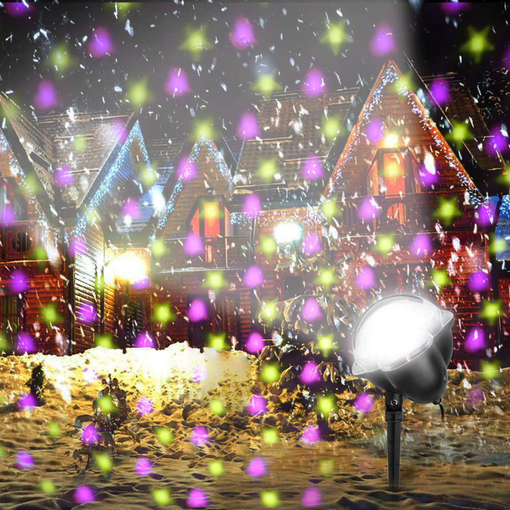 LED Snowfall Laser Stars Hearts Pattern Show effect Stage light Outdoor LED Laser Projector for Christmas Party Holiday Decor