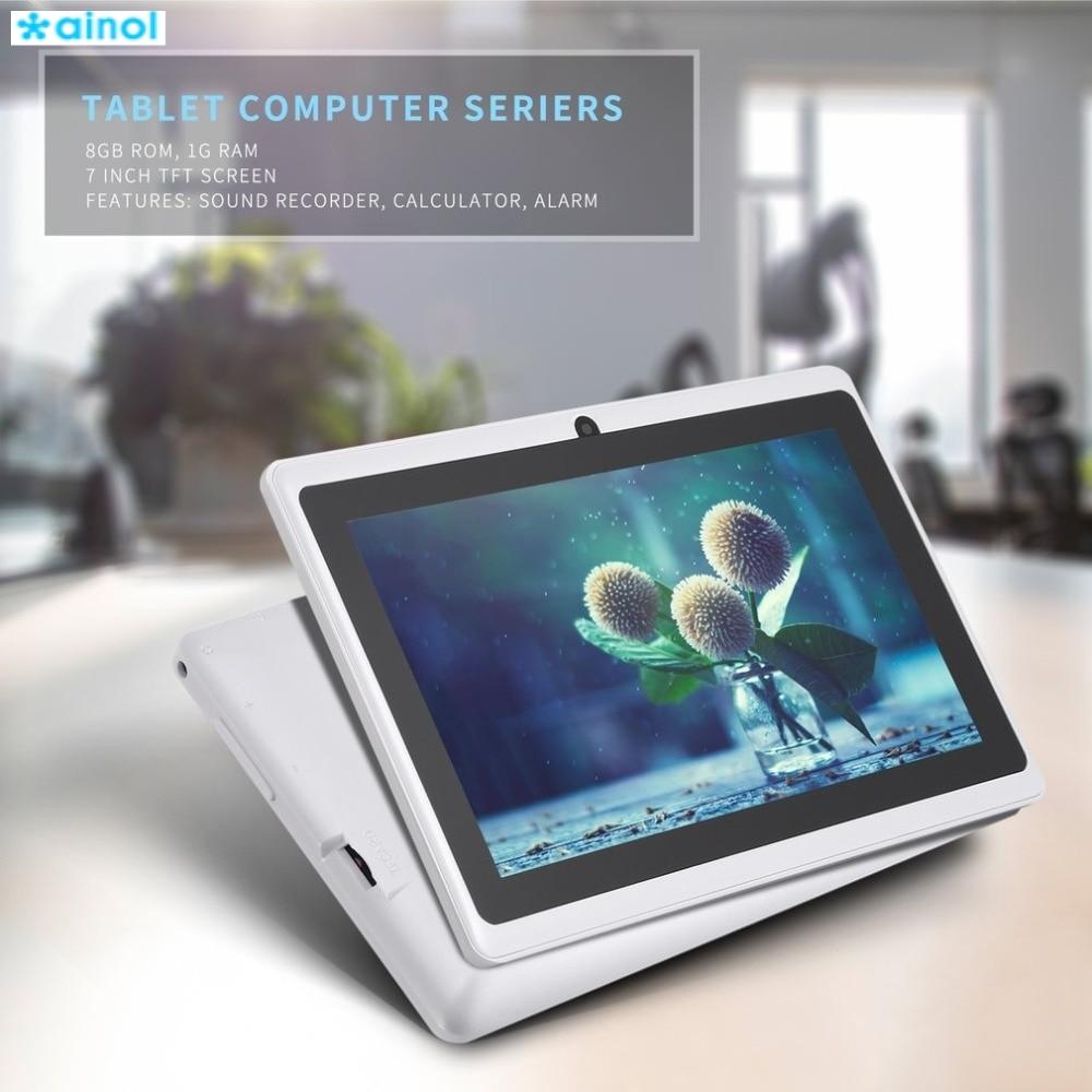 Ainol 7 дюймов детский планшет Android 5,1 1 ГБ/8 ГБ 1024x600 A33 4 ядра 1,3 МП Камера WI-FI Планшеты PC Дети подарок Поддержка TF карты