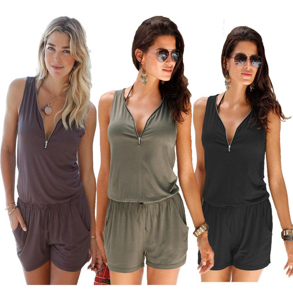 Sexy Sleeveless   jumpsuit   romper 2018 summer women zipper   jumpsuit   pocket shorts beach   jumpsuit   coveralls sexy female frock S-2XL