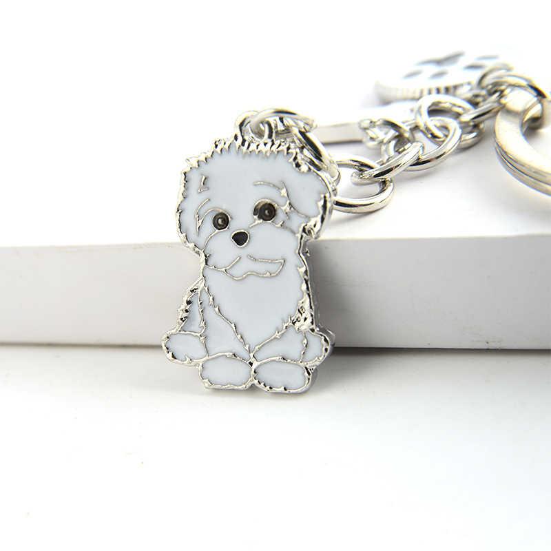 Ши-тцу кулон брелки для женщин девушки мужчины серебристый металлический сплав собака сумка очарование автомобиль брелок держатель мода