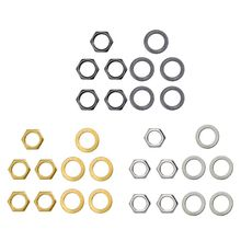OOTDTY  Guitar Metal 5 Washers and Nuts Set for Jack Socket D9mm