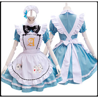 Alice In Wonderland Playing Cards Lolita Maid Dress Costumes Cosplay for Girls Woman Waitress Maid Party Stage Costumes