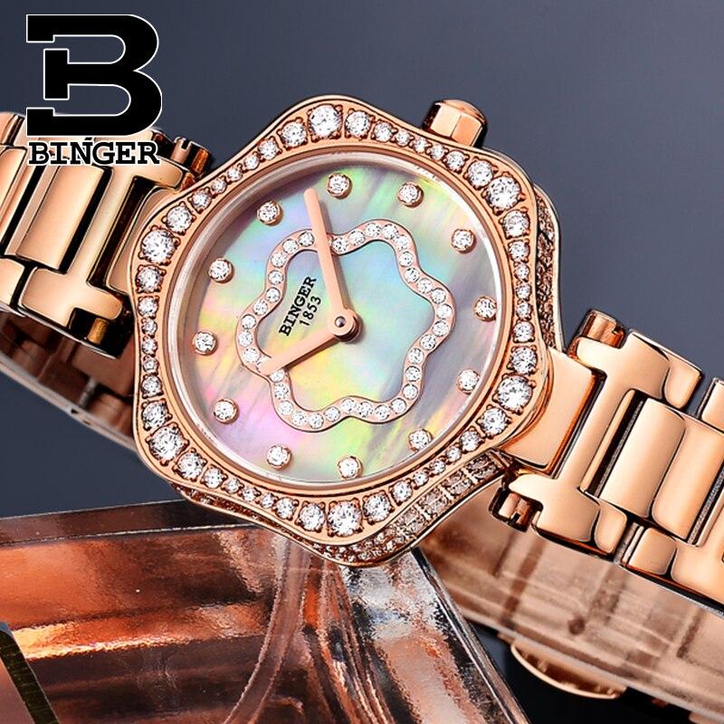 Schweiz BINGER frauen Uhren Luxus Marke Quarz Wasserdichte Uhr Frau Sapphire Uhr Diamant relogio feminino B1150 3 - 2