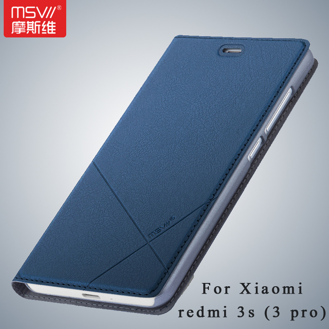more photos 6e85e b714a US $11.99 |Msvii Brand Xiaomi Redmi 3s case Wallet Leather Case xiaomi  redmi 3 pro Stand Flip Leather Cover For redmi 3 s case 3s pro 5.0