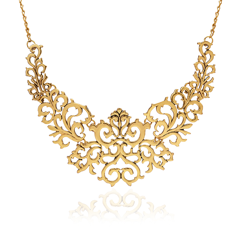 Tocona Vintage Gold Sliver plated Hollow Flower Collar Choke Chain Neon Bib Necklace charms jewelry For Women 5514