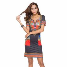 Wavaiov V-Neck Pocket Patchwork Bodycon Tunic Dress Women Summer 2018 Robe African  Print Dashiki Dresses Sundress Vestidos 0c7c511365cc