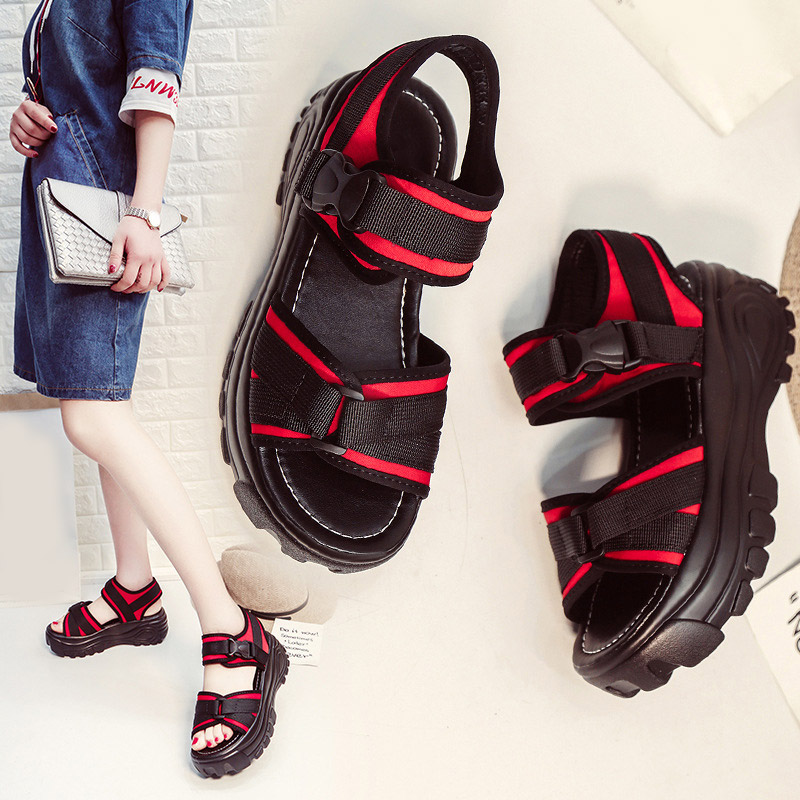 Women Sandals Shoes Wedge-Buckle-Strap Platform Ladies Footwear Open-Toe Female Beach