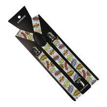 Fashion 2.5cm/1inch Wide  Letters Print Suspender 3 Clip Y-Back Clip-on Elastic Braces Suspenders For Men Women