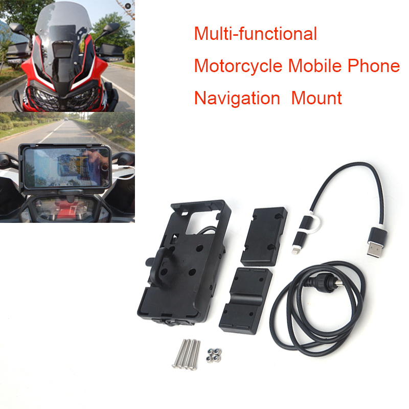 Mobile Phone Navigation Bracket For BMW R1200GS ADV Africa Twin R1200GS For Honda motorcycle F700 800GS Phone charging CRF1000L for ktm 125 200 390 duke 990 adv s r smt supermoto r motorcycle gps navigation frame mobile phone mount bracket