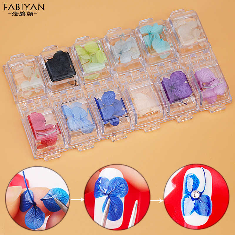 12 Colors 3D Real Petal Dry Dried Flower Stickers Design UV Gel Nail Art Polish Tips Jewelry Decoration DIY Manicure Tools Set