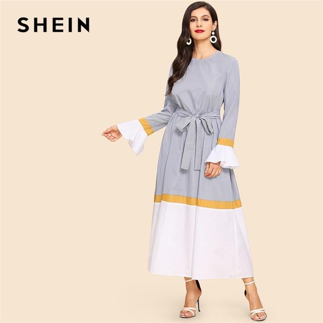 991bb7c896 SHEIN Abaya Multicolor Waist Belted Bell Sleeve Color Block Flounce Sleeve  Long Dress Casual Women Autumn Modern Lady Dresses