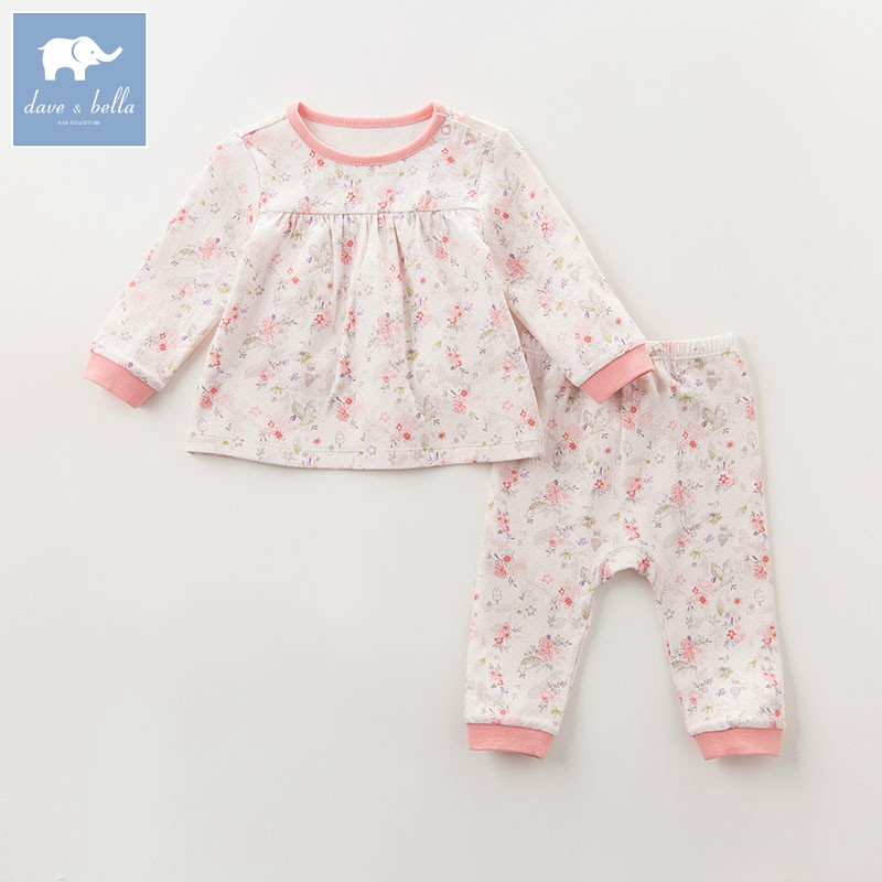 DB6064 dave bella autumn baby girls sleepwear infant toddler pajamas printed 100% cotton sleepwear children pajamas set