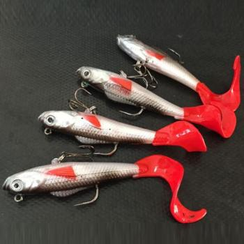 2018 new hot sales Red Fishtail Fishing Lures Lead Coating Soft Bait Fishing Tackle