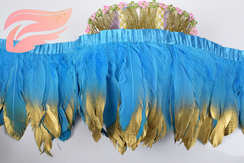 New listing! Lake blue goose feather decoration 2 yards / multicolor goose feather ribbon 15 ~ 18 cm duck hair dance decoration