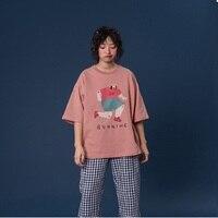 2019 Summer New Design Women Cotton T shirt O Neck Print Ladies Loose Tshirt Tops Pink T Shirt Oversize Tee Top T shirt
